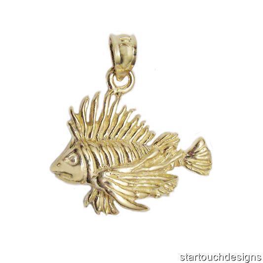 New 14k Yellow gold Tropical Fish Lionfish Pendant