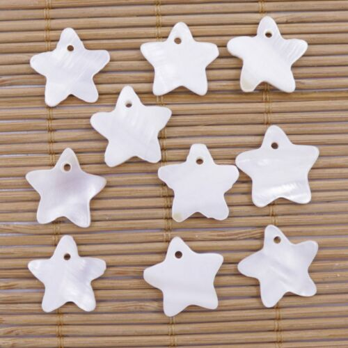 10 PCS 17mm Star Shell White Mother of Pearl Charms Pendants Jewelry Making