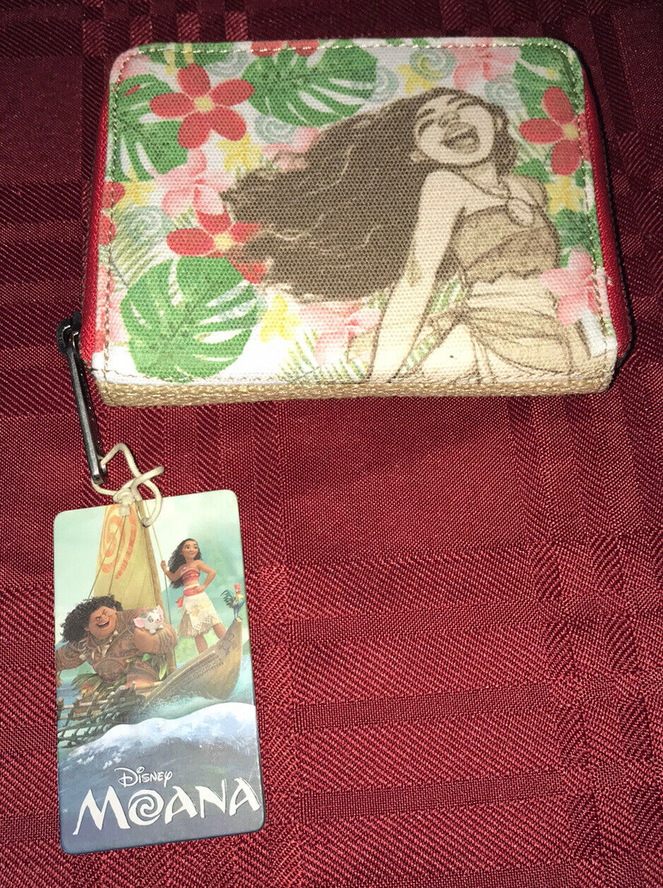 Loungefly Disney Moana Burlap Canvas Floral Wallet NEW