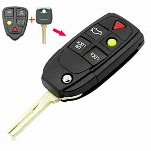 Car Flip Key Shell fit for VOLVO S60 S80 V70 XC70 XC90 5 Button Remote Case Fob