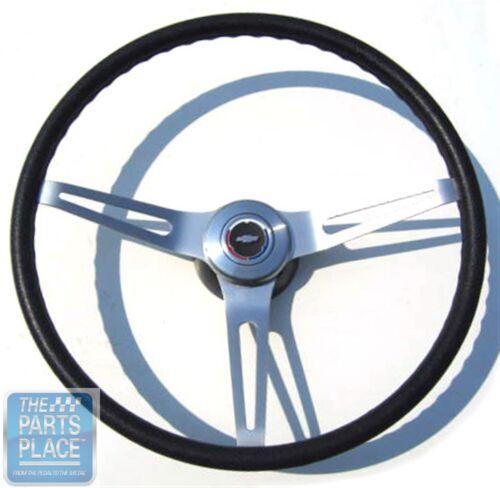 "1969-72 Chevy Black Cushion Grip 14/"" Steering Wheel Kit New Bowtie Center Cap"