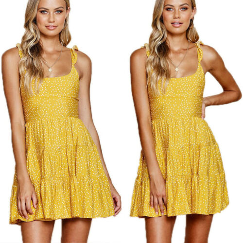 Womens Strapless Backless Holiday Swing Dress Summer Beach Mini Spotted Sundress