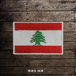 LEBANON-Flag-Embroidered-Iron-On-Sew-On-Patch-Badge-For-Clothes-Etc