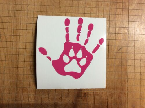 Hand With Dog Paw In It Car Truck Decal Sticker