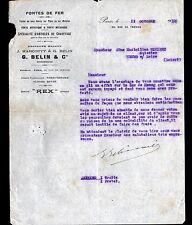 "PARIS (IX°) APPAREILS de CHAUFFAGE / FONTES REX ""J. MARCOTTY & G. BELIN"" 1910"