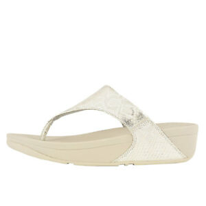 1529b4e5126 Fitflop Lulu Python Toe Thong White Women s Leather Sandals M80-194 ...