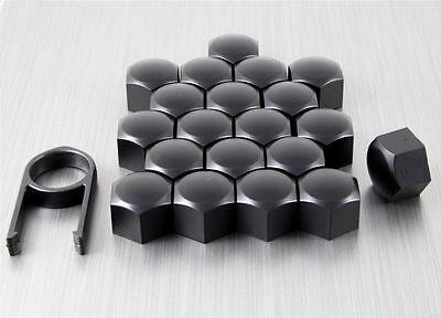Romantico Nuovo Set 20 Auto Caps Bulloni Lega Ruota Per La Frutta A Guscio Comprende 17mm Matt Black Plastic-