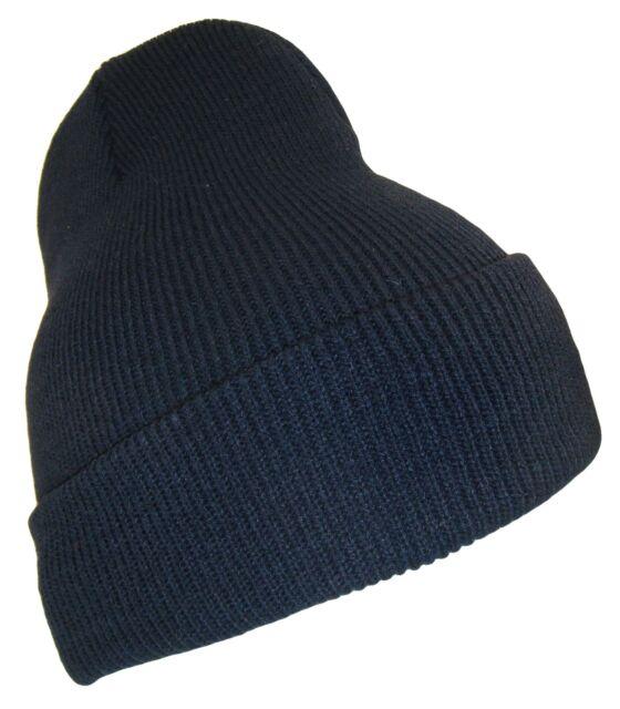 f8abd038928 THS Black 12 Inch Long Cuffed Beanie Thick Knit High Bulk Ski Cap Caps Hat  Hats