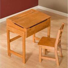 School Desk For Kids Combo Table Chair Storage Homework Organizer Wood Furniture