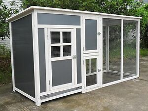 78-034-Wood-amp-Plastic-Hen-Chicken-Duck-poultry-Run-House-Coop-Cage-Nesting-boxe