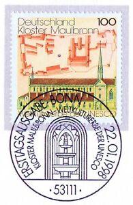 Rfa 1998: Monastère De Maulbronn Nº 1966 Avec Bonner Ersttags-cachet Spécial! 1a! 1604-rstempel! 1a! 1604fr-fr Afficher Le Titre D'origine