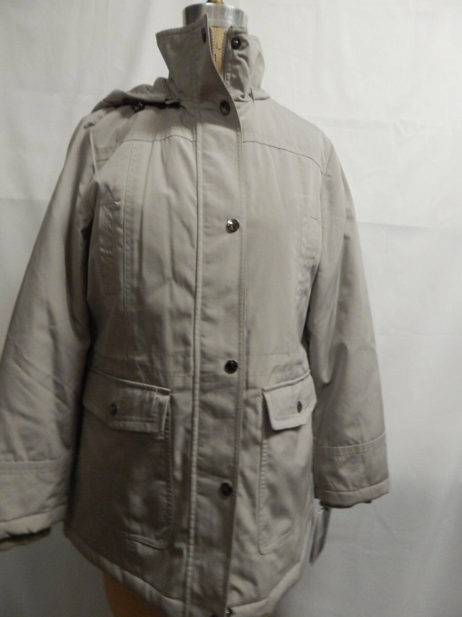 London Fog Hooded Anorak with Scarf M Driftwood  New w  Defects