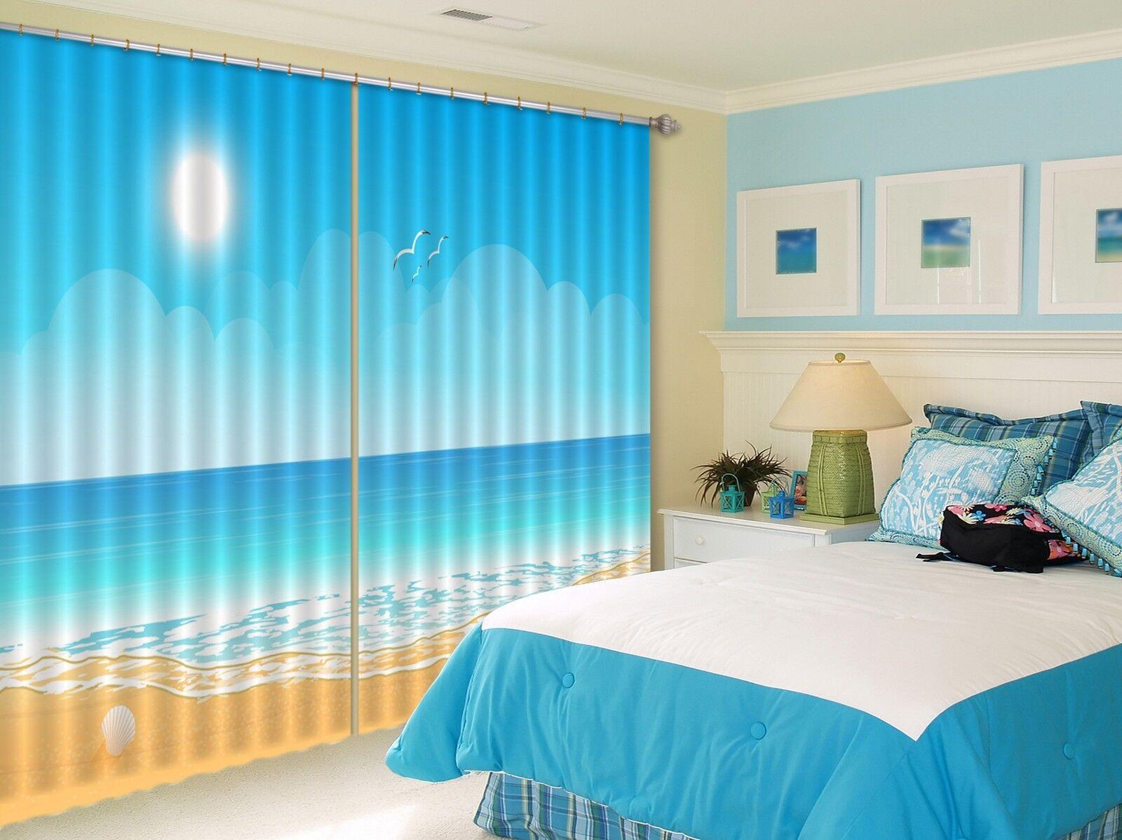3D la luz del sol mar Blockout Cortinas de impresión de fotografías Cortina Tela Cortinas Ventana CA