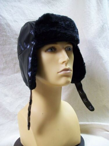 Black Trooper Hat w// Flaps Fargo Cop Mountain Man Hunter Eskimo Trader Aviator