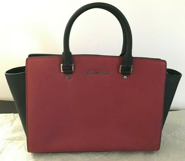 3ddd6871639543 NWT Michael Kors Selma Large Top Zip Satchel Scarlet/Black Handbag  30T3MLMS7T