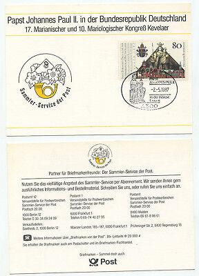 08052 - Sst Papst Johannes Paul Ii. In Essen, 2.5.1987 - Bund Mi.nr. 1320 Clear-Cut-Textur