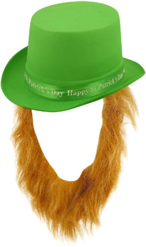 IRELAND FANCY DRESS IRISH GREEN TOP HAT WITH BEARD ST PATRICKS DAY