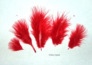 """105 per bag Marabou Feathers Small 1-3/"""" fluffs RED 7 grams approx"""