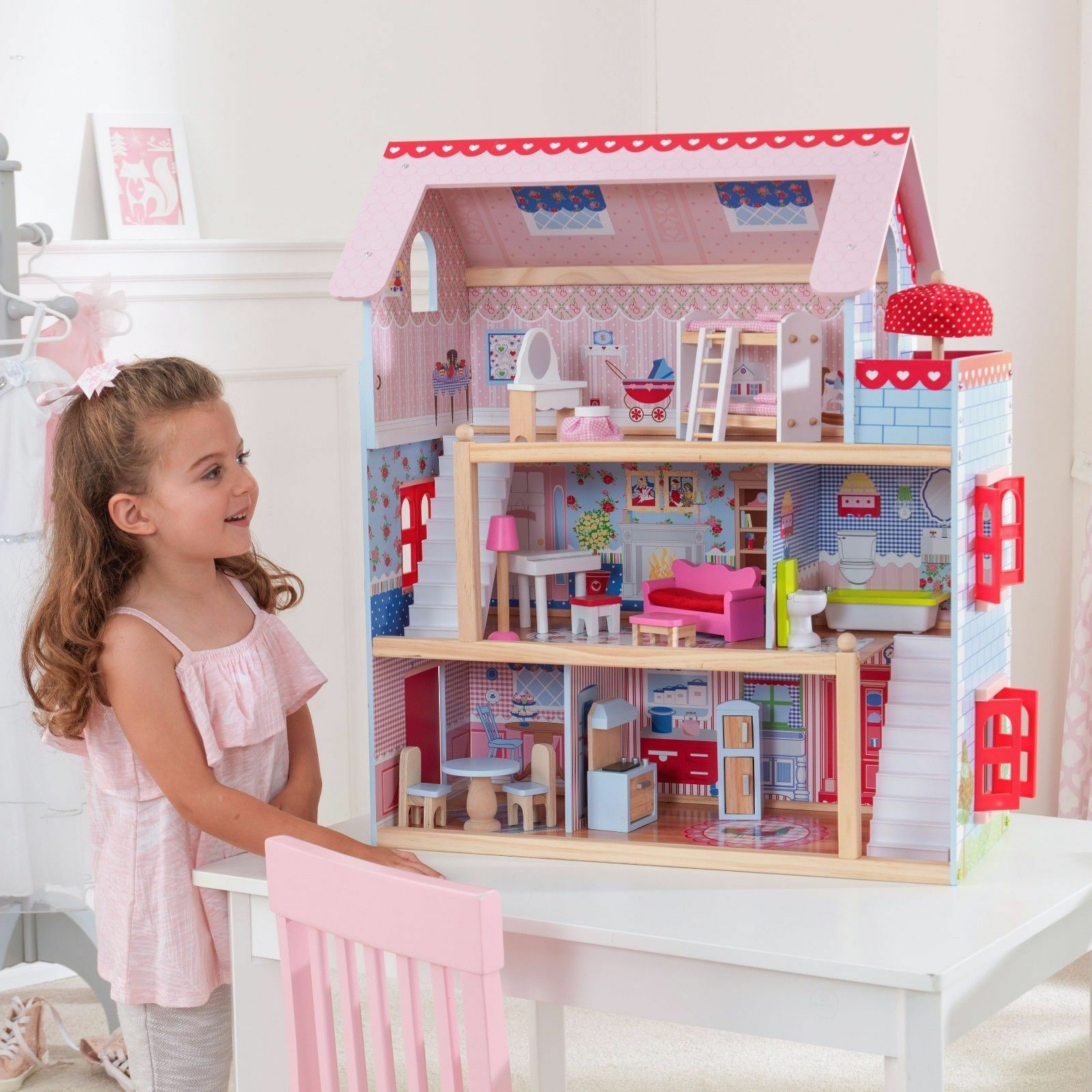 Best New Kids Doll House Cottage Furniture Kitchen Toy Christmas Gift Play Set