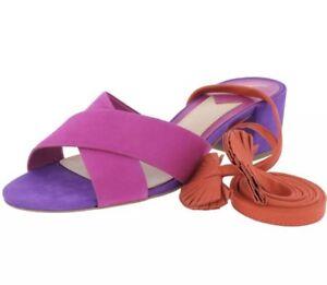 purple lace up sandals
