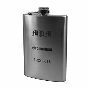 8oz (QTY 3) Laser Engraved Flask Groomsmen Gift WEDDING up to 3 lines L1