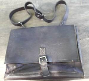 Large-used-brown-leather-briefcase-shoulder-bag