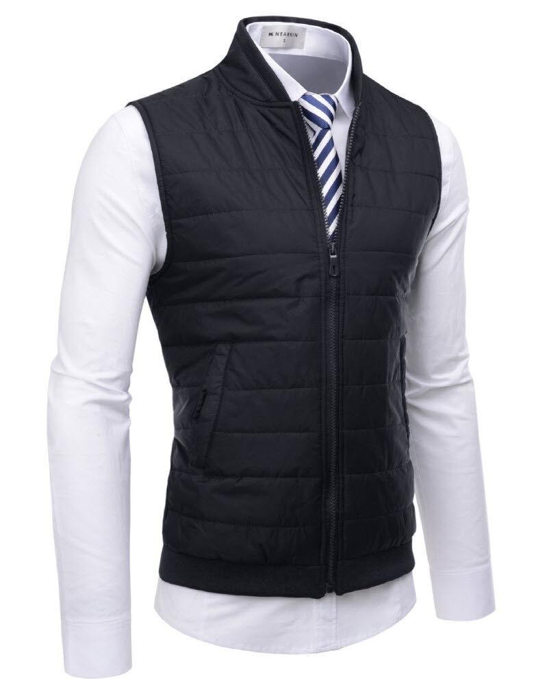 (NKPVE2) TheLees Men Slim Fit Zip-Up Stand Collar Vest Outdoor Padded Waistcoat