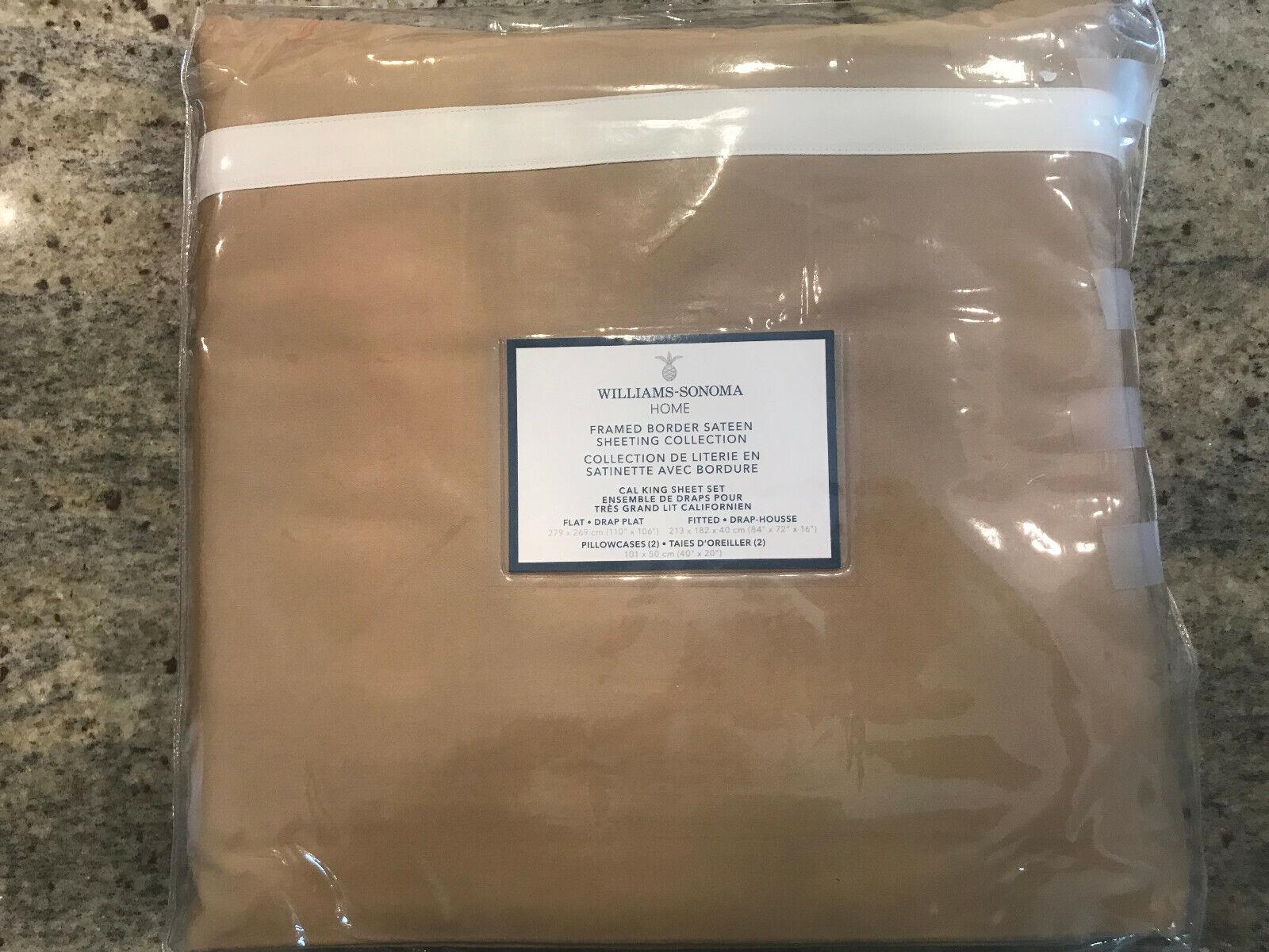Williams Sonoma Framed Border Sateen Cal King Sheet Set Camel NEW
