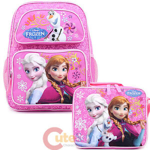 "Frozen 14"" Medium  School Backpack Lunch Bag 2pc Set Elsa Anna Olaf Pink Floral"