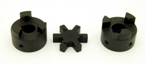 "7//16/"" to 7//8/"" L095 Flexible 3-Piece L-Jaw Coupling Coupler Set /& Rubber Spider"