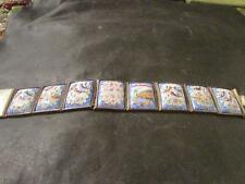 Lovely Antique Rare persian Solid Silver Hand Painted Miniature Panel Bracelet