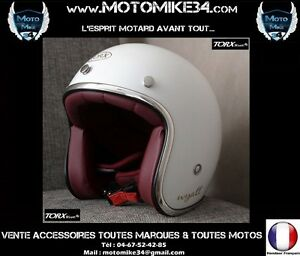 Casque-WYATT-Jet-Retro-Vintage-3-4-Moto-BLANC-BILLANT-XS-S-M-L-XL-WHITE
