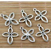 20pcs tibetan silver plated  flowere cross pendant charms EF1731