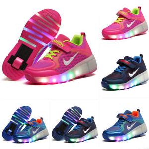 2845b74d8ef6 Fashion Xmas Kids Boys Girls Roller Shoes Wheels Heelys Skates LED ...