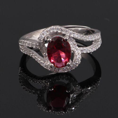 925 Sterling Silver Ruby /& Diamond Zircon Band Ring Jewelry Free Shipping AJ16