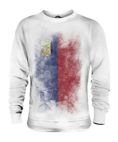LIECHTENSTEIN FADED FLAG UNISEX SWEATER TOP GIFT SHIRT CLOTHING JERSEY