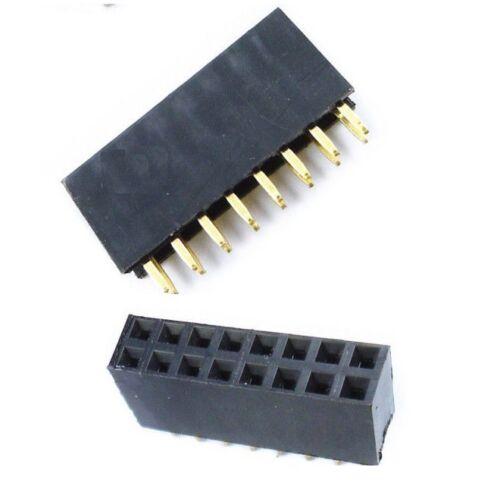 50PCS 2x8 16 Pin 2.54mm Double Row Female Straight Header Pitch Socket Pin Strip