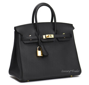 BINB NEW AUTHENTIC HERMES BIRKIN 25 BLACK NOIR TOGO LEATHER GHW ... 6df69aaef