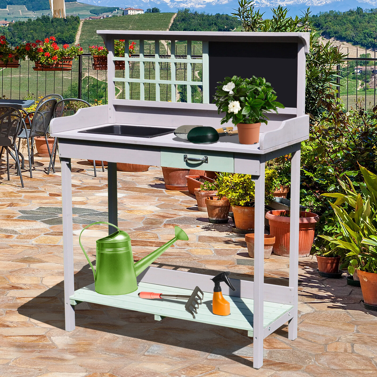 Painted Wooden Garden Plant Table Potting Bench Workstation with Storage