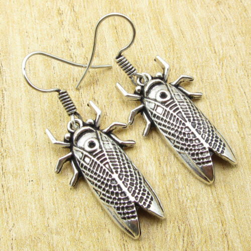 COCKROACH Earrings 1 7//8 Inches 925 Silver Plated Unique OXIDIZED Jewelry