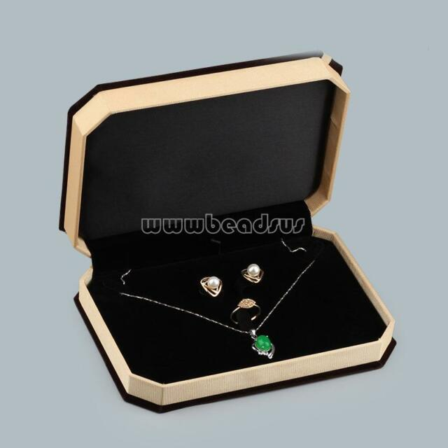 Upscale Velvet Jewelry Set Box Bracelet Necklace Ring Bowknot Gift Display Boxes
