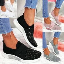 LADIES WOMENS KNIT SLIP ON DIAMANTE STUDS WOMEN JOGGING SNEAKERS TRAINERS SHOES