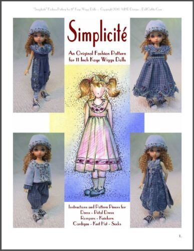"/""Simplicité/"" 11 inch Ball Jointed Doll BJD Kaye Wiggs Fashion Clothing Pattern"