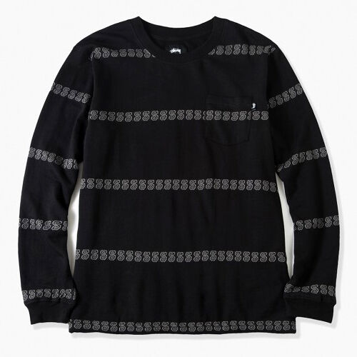 Stussy S Stripe Longsleeve Crewneck men black grey