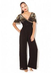 Virgos Lounge Black Julisa Drape Party Jumpsuit Dress SIZE UK4 EUR32 US0