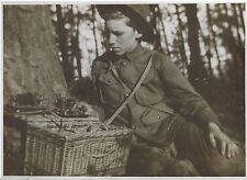 Early 1900's Photo of Boy Scout Using Telegraph Equipment? Early Portable Radio?