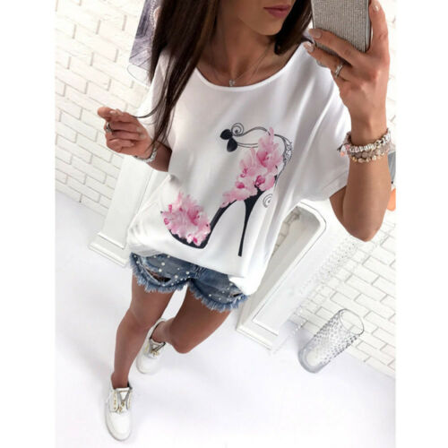 Women Floral Loose Casual Blouse Shirt Summer Short Sleeve Cotton T-shirt Tops