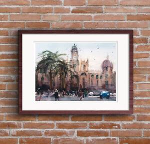 Fine-Art-Print-of-Spanish-City-Street-Scene-Watercolour-Painting-Urban-Landscape