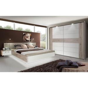 Details zu Schlafzimmer Rondino 1 Komplett Set Hochglanz Weiß Sandeiche  Dekor inkl. LED