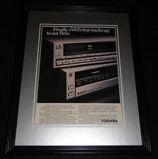 1985 Toshiba VHS & Beta 11x14 Framed ORIGINAL Vintage Advertisement